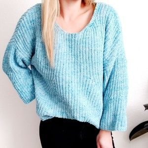 Lou & Grey Blue Chenille Chunky Knit Sweater